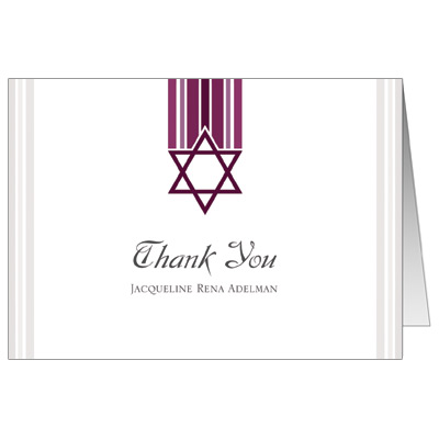 Star and Stripes Magenta Bat Mitzvah Thank You Card