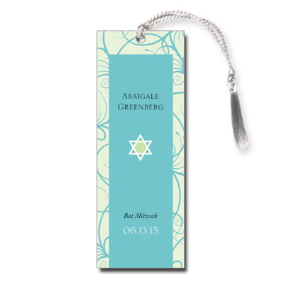 Teal Floral Bat Mitzvah Bookmark