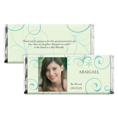 Teal Floral Bat Mitzvah Candy Wrapper