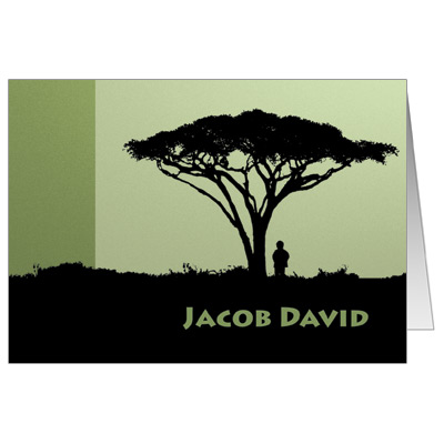 Tree of Life Bar Mitzvah Thank You Card