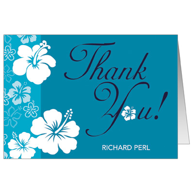Aloha Blue Bar Mitzvah Thank You Card