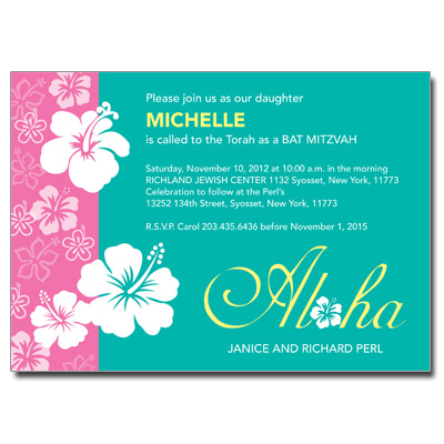 Aloha Pink Bat Mitzvah Invitation