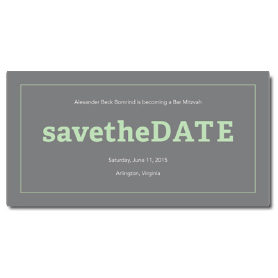 Classic Frame Mint Save the Date Bar Mitzvah Card With Magnet