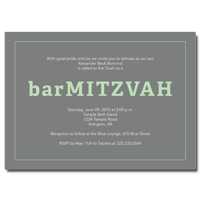 Classic Frame Mint Bar Mitzvah Invitation