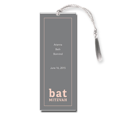 Classic Frame Peach Bat Mitzvah Bookmark