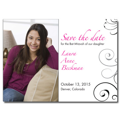 Black Floral Photo Save the Date Bat Mitzvah Card
