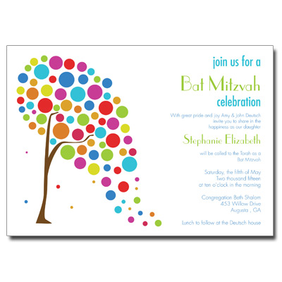 Colorful Tree Bar Mitzvah Invitation