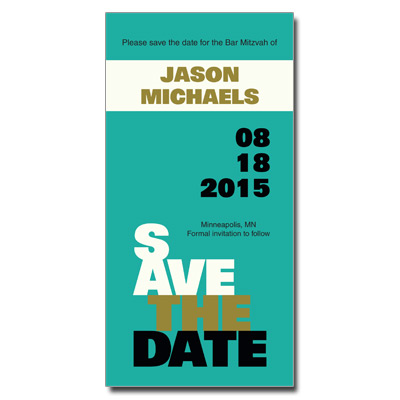 Escalade Olive Save the Date Bar Mitzvah Card With Magnet
