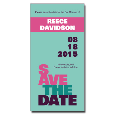 Escalade Pink Save the Date Bat Mitzvah Card With Magnet