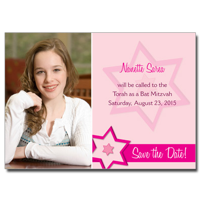 Fuchsia Star Jewel Bat Mitzvah Invitation