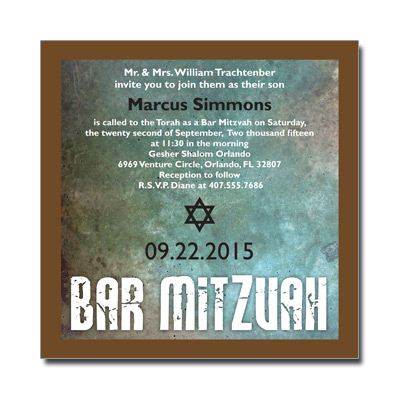 Granite Grunge Bar Mitzvah Invitation