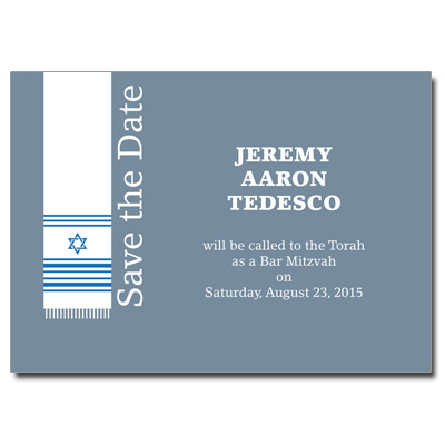 Holy Tallit Blue Save the Date Bar Mitzvah Card
