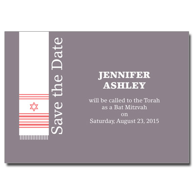 Holy Tallit Lilac Save the Date Bat Mitzvah Card