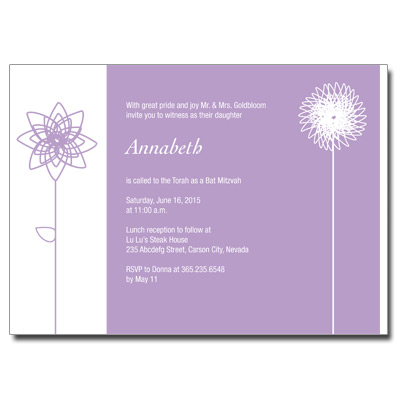Lavender Blooms Bat Mitzvah Invitation