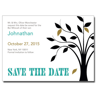 Living Tree Boy Save the Date Bar Mitzvah Card With Magnet