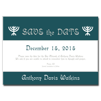 Menorah Save the Date Bar Mitzvah Card