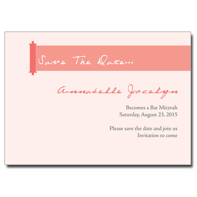 Modern Torah Coral Save the Date Bat Mitzvah Card