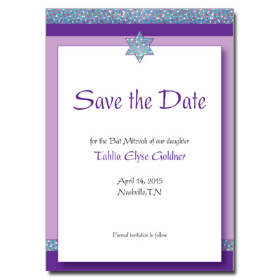 Mosaic Save the Date Bat Mitzvah Card with Magnet