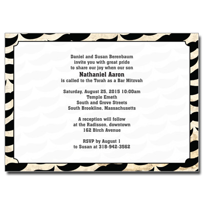 Moustache Bar Mitzvah Invitation