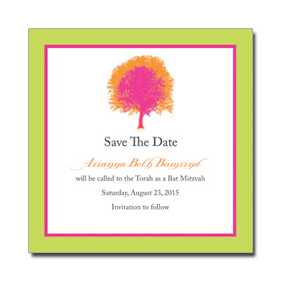 Painted Tree Lime Save the Date Bat Mitzvah Card