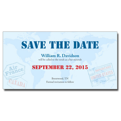 Passport Save the Date Bar Mitzvah Card With Magnet