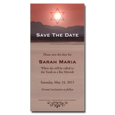 Red Sea Save the Date Bar Mitzvah Card