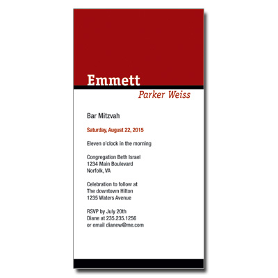 Simply Striking Bar Mitzvah Invitation