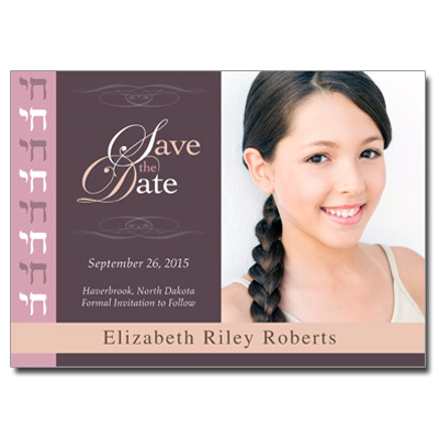 Rosewood Save the Date Bat Mitzvah Card With Magnet