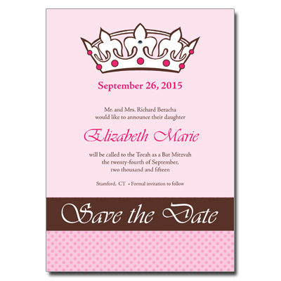 Royal Bat Mitzvah Save the Date Bat Mitzvah Card