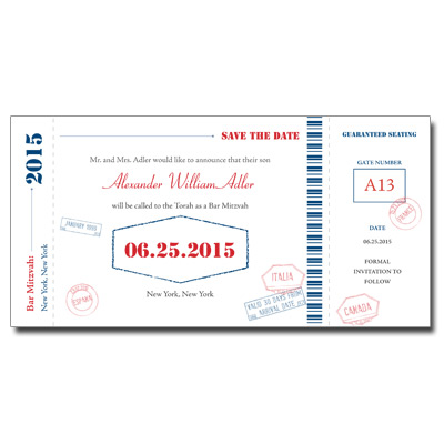 Flight Pass Save the Date Bar Mitzvah Card With Magnet