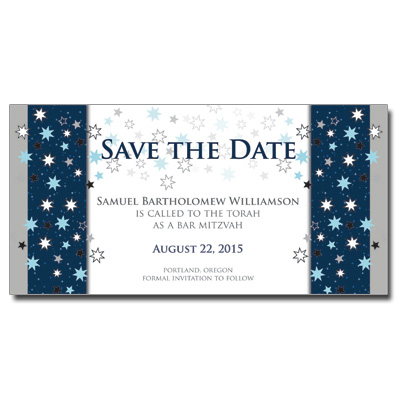 Shining Stars Save the Date Bar Mitzvah Card With Magnet