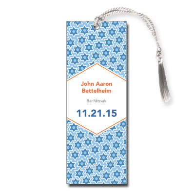 Star Pattern Blue Bar Mitzvah Bookmark