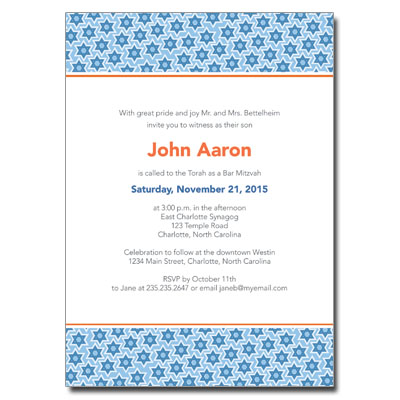 Star Pattern Blue Bar Mitzvah Invitation