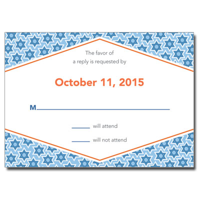 Star Pattern Blue Bar Mitzvah Response Card