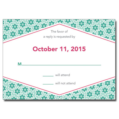 Star Pattern Green Bar Mitzvah Response Card