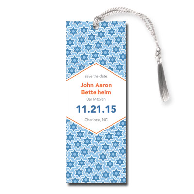 Star Pattern Blue Save the Date Bar Mitzvah Bookmark