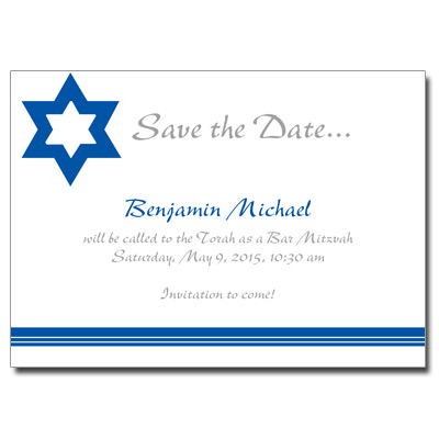 Tallit Save the Date Bar Mitzvah Card