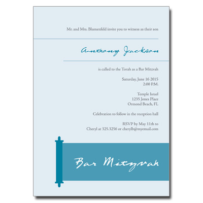 Modern Torah Blue Bar Mitzvah Invitation