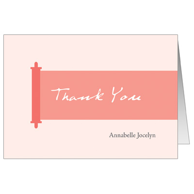 Modern Torah Coral Bat Mitzvah Thank You Card