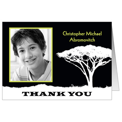 Tree Of Initiation Bar Mitzvah Thank You Card