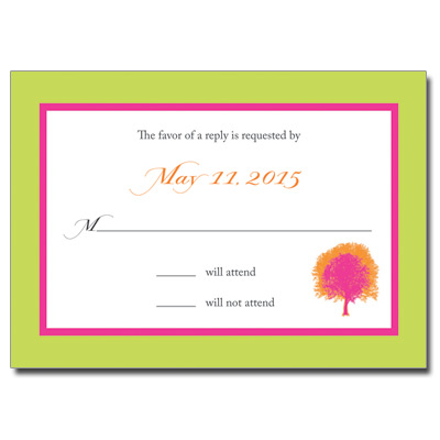 Painted Tree Lime Bat Mitzvah Response Card