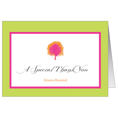 Painted Tree Lime Bat Mitzvah Thank You Card