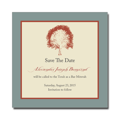Painted Tree Tan Save the Date Bar Mitzvah Card