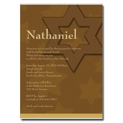 Auburn Stars Bar Mitzvah Invitation