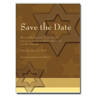 Auburn Stars Save the Date Bar Mitzvah Card