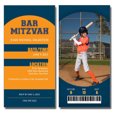 Baseball Ticket Bar Mitzvah Invitation