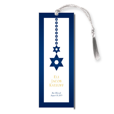 Blue and Gold Bar Mitzvah Bookmark