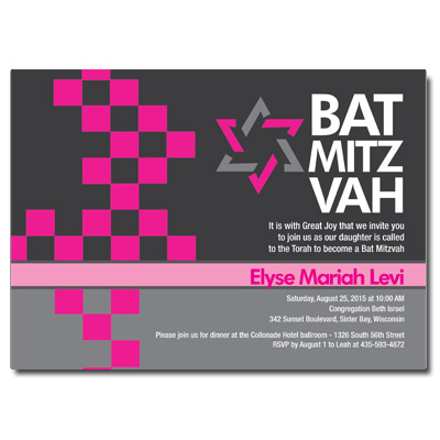 Checkered Pink Bat Mitzvah Invitation