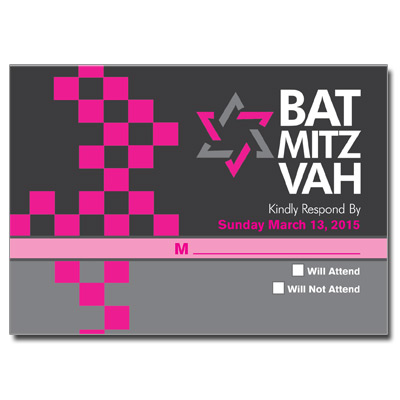 Checkered Pink Bat Mitzvah Response Card