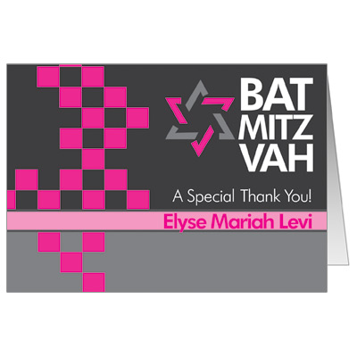 Checkered Pink Bat Mitzvah Thank you Card